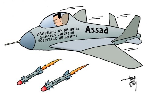 Arend Van Dam - politicalcartoons.com - Assad bomber - English - Assad, civilian victims