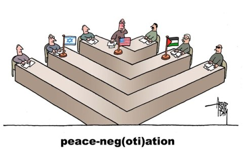 Arend Van Dam - politicalcartoons.com - peace negotiations - English - Israel, Palestineans, MidEast, Kerry, peace process, peace negotiations