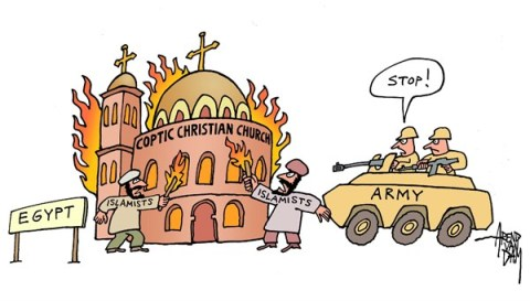 Arend Van Dam - politicalcartoons.com - Coptic Church - English - Egypt, Coptic, Coptic Christian Church, Islamists