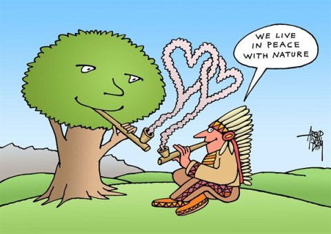 Arend Van Dam - politicalcartoons.com - in peace with nature - English - nature, environment, Indians
