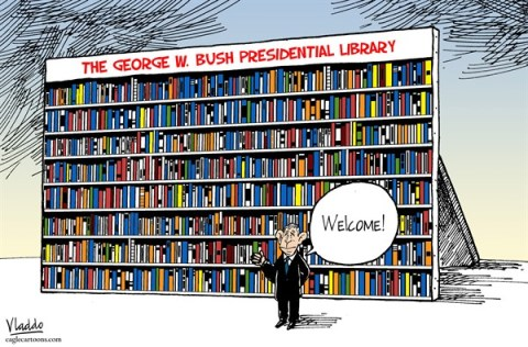 Vladdo - Semana, Colombia, www.caglecartoons.com - Bush Library - English - bush,library,dewey,decimal,george bush,presidential,bush-library