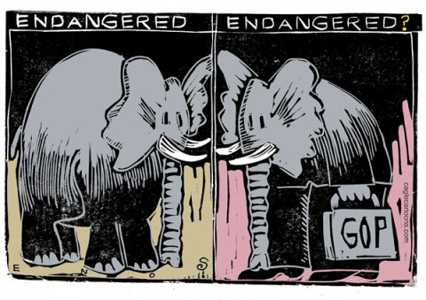 Randall Enos - Cagle Cartoons - Endangered Elephants COLOR - English - endangered elephants, elephants,gop,poaching,tea party,extreme right wing
