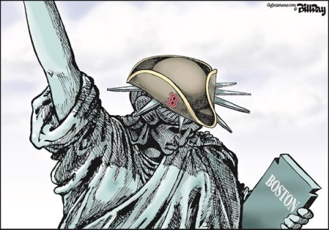 Bill Day - Cagle Cartoons - Crying Lady COLOR - English - Boston marathon, terrorism, Liberty Patriot