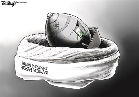 Bill Day - Cagle Cartoons - NUKE EGG   color - English - Iran, nuke deal, peace, turban, nest,