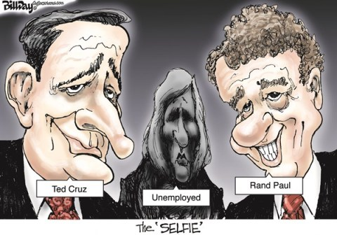 Bill Day - Cagle Cartoons - The Tagged 'SELFIE'  color - English - Ted Cruz, unemployed, Rand Paul, selfie
