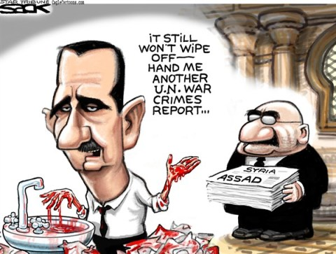 Steve Sack - The Minneapolis Star Tribune - Bloody Assad - English - Assad, Syria, war crime, UN, United Nations
