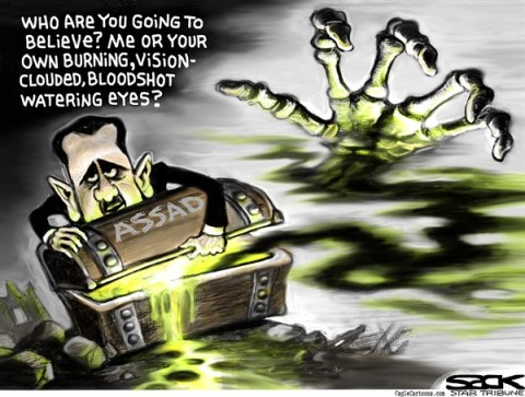 Steve Sack - The Minneapolis Star Tribune - Assad Chemicals COLOR - English - Syria, Assad chemical