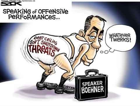 Steve Sack - The Minneapolis Star Tribune - Twerkin' Boehner COLOR - English - Boehner, twerk, budget, shutdown