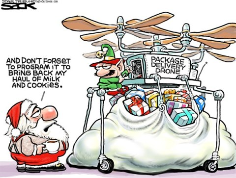Steve Sack - The Minneapolis Star Tribune - Happy Holidrones COLOR - English - drone, Santa, cHRISTMAS