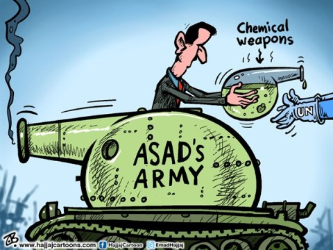 Emad Hajjaj - Jordan - Asad's Chemical weapons - English - Bashar Asad,hand over WMDs,tank,chemical massacre,UNSC,UN resolution on Syria,funnel,middle east,Arab spring,tank,UN inspectors,damascus,Syrian army,Emad Hajjaj,
