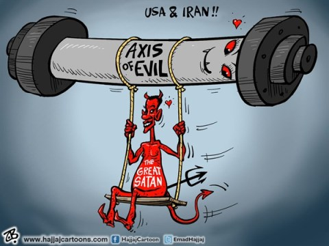Emad Hajjaj - Jordan - USA  IRAN - English - USA  IRAN,great Satan,Axis of evil,Obama,Rohani,nuclear talks,sanctions,congress,swing,love,wmd,peace,Emad Hajjaj,Middle east,