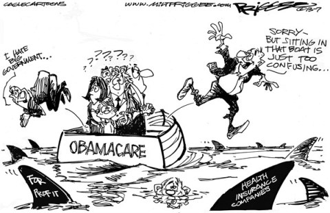 Milt Priggee - www.miltpriggee.com - Obamacare - English - obamacare, healthcare, costs, insurance, companies, big government, politics, republicans, america, united states