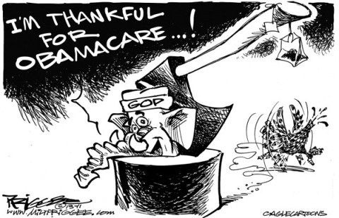 Milt Priggee - www.miltpriggee.com - GOP turkey - English - GOP, turkey, obamcare, health insurance, healthcare costs, tea party,