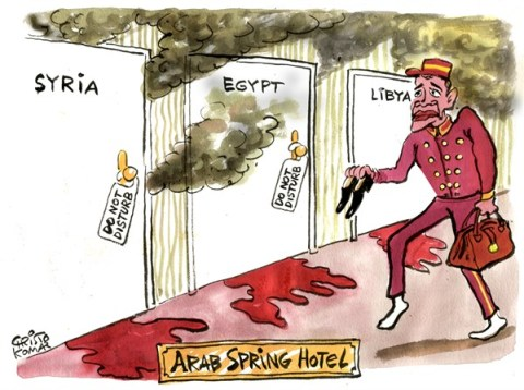 Christo Komarnitski - Bulgaria - Barack the Hotel boy - English - 		Arab,Spring,Hotel,Syria,Libya,Egypt,Mideast,World,USA,War,Barack Obama,President