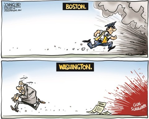 John Cole - The Scranton Times-Tribune - Boston and Washington COLOR - English - congress, GOP, NRA, gun control, toomey, manchin, senate, senators, guns, newtown, boston, marathon, bombings