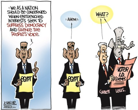 John Cole - The Scranton Times-Tribune - LOCAL PA -- Voter ID COLOR - English - pennsylvania, bartack obama, voter ID, GOP, Tom Corbett