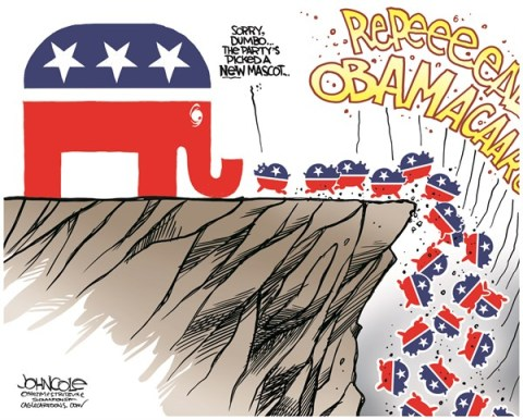John Cole - The Scranton Times-Tribune - Elephants and lemmings COLOR - English - GOP, obamacare, debt ceiling, john boehner, ted cruz, tea party, ACA, government shutdown
