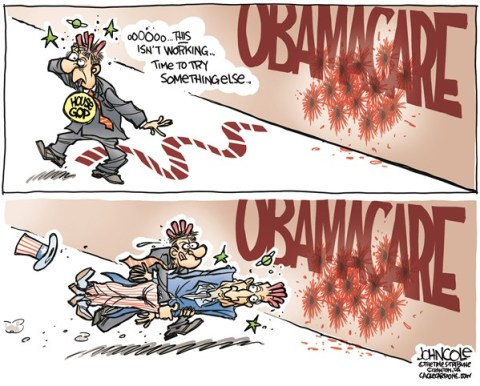 John Cole - The Scranton Times-Tribune - Obamacare head-banging COLOR - English - GOP, ACA, obamacare, government, shutdown, tea party, congress