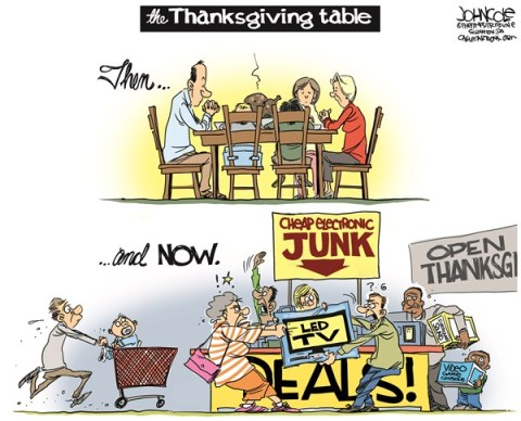 John Cole - The Scranton Times-Tribune - The Thanksgiving table COLOR - English - Thanksgiving, Walmart, Target, Black Friday, consumerism, Christmas shopping