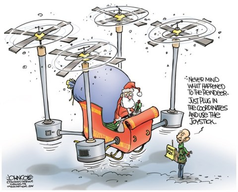 John Cole - The Scranton Times-Tribune - Amazon and Santa COLOR - English - Jeff Bezos, drones, delivery, Amazoncom, Amazon, Santa, sleigh, reindeers