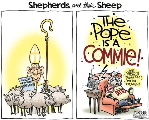 John Cole - The Scranton Times-Tribune - Pope and Limbaugh COLOR - English - Pope Francis, Rush Limbaugh, GOP, talk radio, media, the poor, the rich, poverty