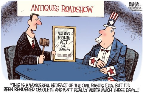 Rick McKee - The Augusta Chronicle - Voting Rights Act COLOR - English - Voting Rights Act, Supreme Court