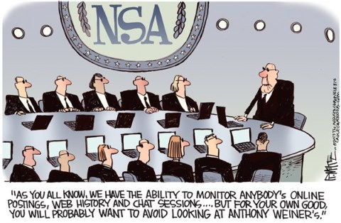 Rick McKee - The Augusta Chronicle - NSA Weiner Color - English - NSA, Weiner