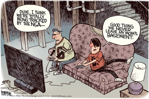 Rick McKee - The Augusta Chronicle - NSA Tracks Gamers COLOR - English - NSA, video games, gamers, spying, surveillance