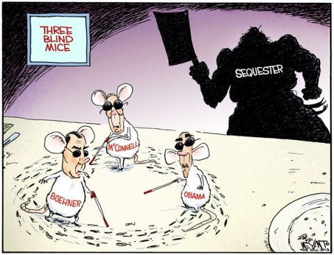 Christopher Weyant - The Hill - Three Blind Mice - English - three blind mice, sequester, sequestration, Obama, Boehner, McConnell, Senate, Congress, budget, deficit, spending, cuts, taxes, gridlock