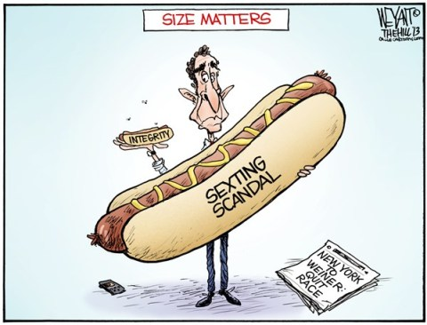 Christopher Weyant - The Hill - Big Dog COLOR - English - Anthony Weiner, hot dog, scandal, sexting, New York, mayor, race, integrity, New York City, Carlos Danger