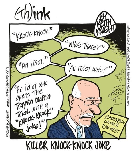 Keith Knight - PoliticalCartoons.com - Killer Knock-Knock Joke color - English - ron west, george zimmerman, trayvon martin, trial