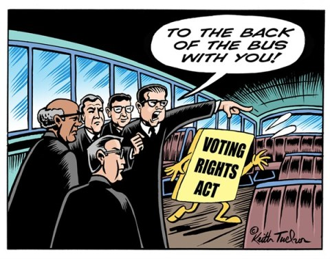 Keith Tucker - PoliticalCartoons.com - Voting Rights to the Back of the Bus - English - Civil Rights, Supreme Court, Video, Department Of Justice, Ryan J Reilly on Justice, Supreme Court Voting Rights Act Section 4, Voting Rights, Voting Rights, Scotus, Section 4, Section 4 Of The Voting Rights Act, Section 4 Of Voting Rights Act, Section 4