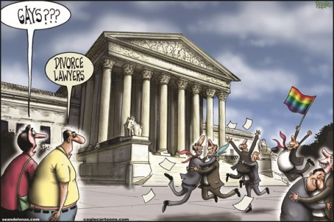 Sean Delonas - CagleCartoons.com - DOMA overturned - English - Supreme Court, Defense of Marriage Act, DOMA, Gays