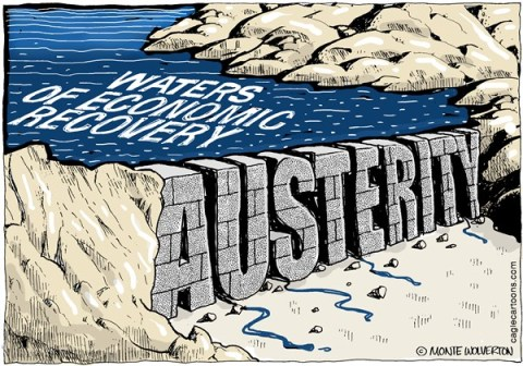 Wolverton - Cagle Cartoons - Dam Austerity COLOR - English - Austerity, Fiscal, Economy, GOP, Spending