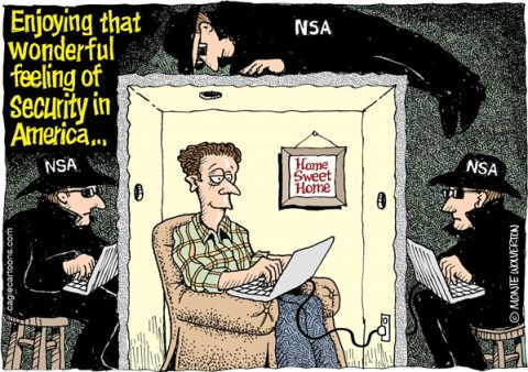 Wolverton - Cagle Cartoons - NSA Surveillance COLOR - English - NSA, Security, Surveillance, Spying, Intelligence, espionage, Snowden
