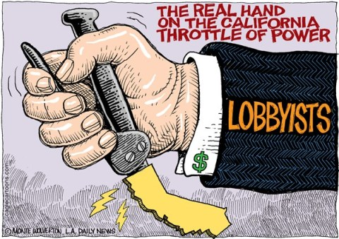 Wolverton - Cagle Cartoons - LOCAL-CA California Lobbyists COLOR - English - Western States Petroleum Association, Lobbyists, California, Altria, Citigroup