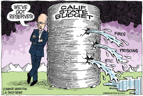 Wolverton - Cagle Cartoons - LOCAL-CA Leaking Budget Reserve COLOR - English - Brown, Jerry Brown, Budget, Reserve, Fires, Prisons