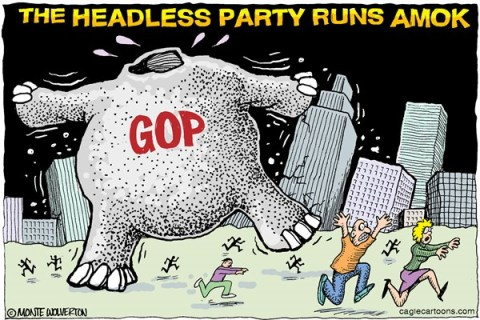 Wolverton - Cagle Cartoons - Headless GOP COLOR - English - GOP,Republican,Leadership,Boehner,Cantor,Tea Party,Conservative