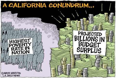Wolverton - Cagle Cartoons - LOCA-CA Cal Poverty vs Budget Surplus COLOR - English - Poor, Poverty, Poverty Rate, Census, Budget, Surplus, Budget Surplus