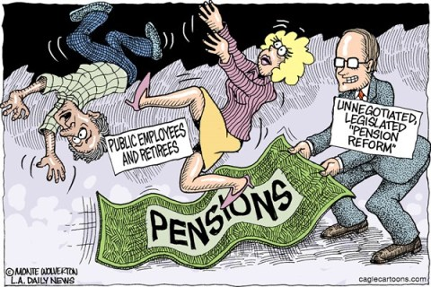Wolverton - Cagle Cartoons - Pension Reform COLOR - English - Pensions, Pension, Public employees, unions, labor, Pension reform, public pensions, California