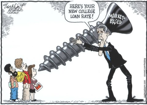 Bob Englehart - The Hartford Courant - New College Loan Rates - English - market rate college loans,student loans, borrowing for college,stafford loans