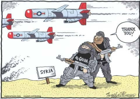 Bob Englehart - The Hartford Courant - Al-Qaida in Syria - English - al-qaeda, al-qaida,syria,cruise missiles,rebels,syrian civil war,bashar assad,united nations,president obama,barack obama,john kerry,secretary of state,congressional action, hearings