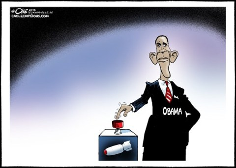 Olle Johansson - Sweden - Ready to press the button - English - Obama, Button, Bomb, Attack, Ready, Syria, Regime, Assad, USA, Military