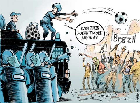 Patrick Chappatte - NZZ am Sonntag - Is this BRAZIL  - English - Brazil, Economy, Social, Demonstrations, Football, Soccer, Sports