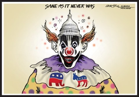 J.D. Crowe - Mobile Register - Congress clowns are insanely unpopular - English - Congress, government shutdown, Tea Party
