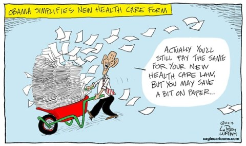 Larry Wright - CagleCartoons.com - COLOR Paper Health - English - health care, saving paper