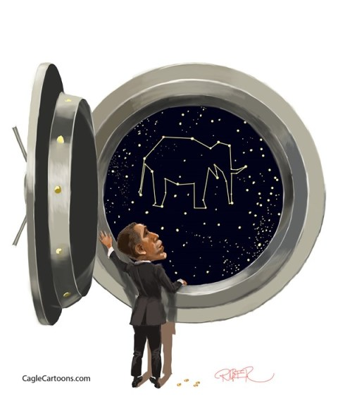 Riber Hansson - Sydsvenskan - Obama in front of a black hole - English - Obama, Budget