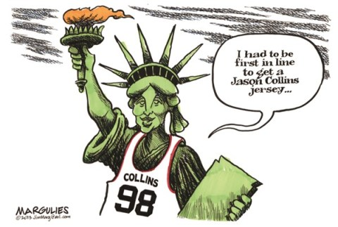 Jimmy Margulies - The Record of Hackensack, NJ - Jason Collins color - English - Jason Collins, Gays in sports, Gays, Gays coming out, Tolerance for gays, Gay rights