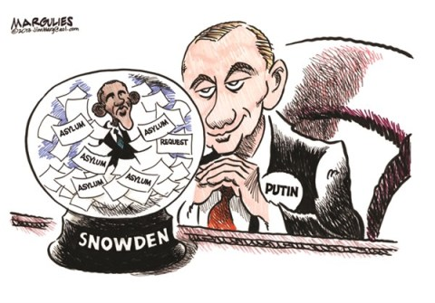 Jimmy Margulies - The Record of Hackensack, NJ - Putin and Obama and Snowden color - English - Edward Snowden, Snowden Asylum, Putin and Snowden asylum, Snowden asylum in Russia, Obama and Snowden, NSA leaker