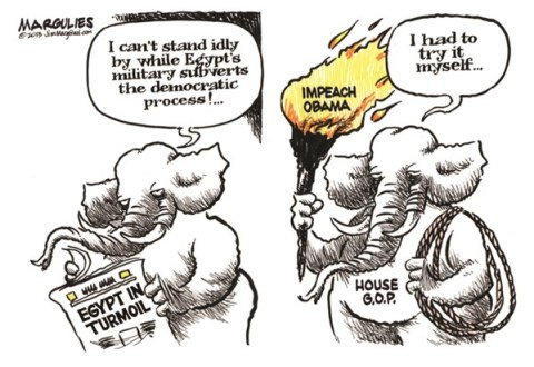 Jimmy Margulies - The Record of Hackensack, NJ - Impeach Obama color - English - Impeach Obama, House Republicans, Tea Party, Congressional Republicans